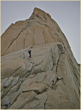 Guillaumet tower granite rock climbing expedition - South Patagonia, Argentina South America