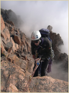 Rappelling in Patagonia, South America