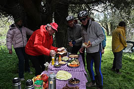Outdoor lunch in Chile | mountain biking Andes crossing trip