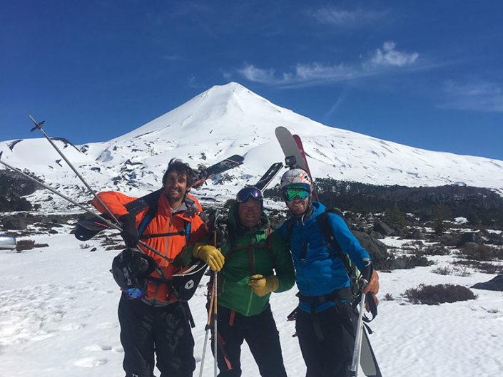 summit of llaima, llaima ski touring trip, volcanoes skiing, guides, ski guides, mountain guides